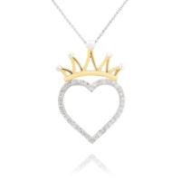 Chavin Altın ,Zirkon Taşlı Kraliçe Tacı Kalp Bayan Kolye cs19