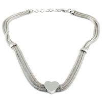 Chavin Hasır Zincir Kalp ,Çelik Bayan Kolye ar71