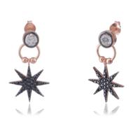 Coşar Silver Siyah Taşlı Yıldız Küpe CZ-EAR1233-2