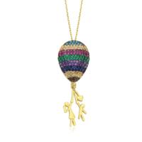 Diva Pırlanta 14 Ayar Altın Renkli Taşlı Balon Kolye