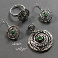Sümer Telkari Kök Zümrüt Taşlı Telkari Salyangoz Gümüş Set 533