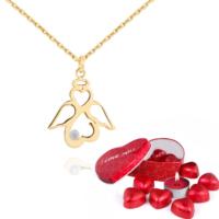 Chavin Melek-Sonsuzluk-Kalp Pırlanta Altın Kolye Çikolatalı cs87