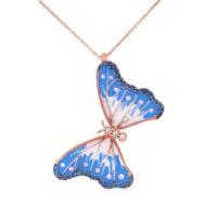 Chavin Gümüş Mavi Beyaz Mineli Kelebek Kolye dg58