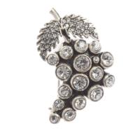 Aşina Gümüş Swarovski Taşlı Elmas Montürlü Üzüm Broş