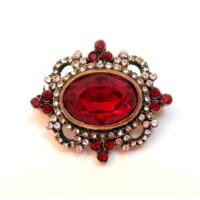 Aşina Gümüş Swarovsk Taşlı Elmas Montür Kırmızı Broş Muhteşem Yüzyıl Hurrem Harem Serisi
