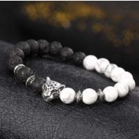 Yeni Tasarım Siyah Beyaz Doğal Taşlı Bileklik Erkek Kadın Unisex Onyx Leopar Bileklik