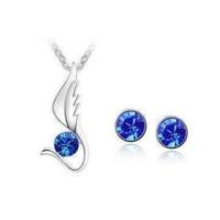 Mavi Kristal Taşlı Kolye ve Küpe Gümüş Kaplama Hediyelik Takı 2 li Takı Setleri