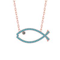 Diamood Jewelry Gümüş Firuze Taşlı Balık Kolye
