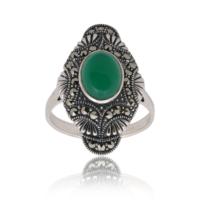 Akyüz Gümüş Yeşil Akik Taşlı Markazit Gümüş Yüzük