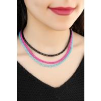 Çınar E-Ticaret Üç Renkli Metal Hasır Tasarımlı Şık Kadın Kolye Modeli