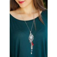 Çınar E-Ticaret Metal Tasarım Yaprak Figürlü Mavi Taş Detaylı Kadın Uzun Zincirli Kolye