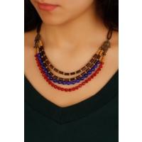 Çınar E-Ticaret Mavi & Kırmızı Boncuk Tasarımlı Yeni Trend Kadın Kolye Modeli