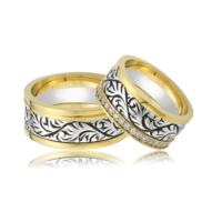 Allegro Gold El İşi Gümüş Çift Alyans AG0017