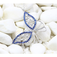 Else Silver Mavi Sonbahar Kelebeği Kolye