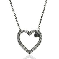 Tesbihci Dede 925 Ayar Gümüş Siyah Zirkon Tek Taşlı Kalp Tasarım Kolye