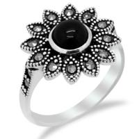 Tesbihci Dede Çiçek Tasarım Oltu Taşlı Gümüş Bayan Yüzük