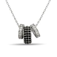Argentum Concept Işıltılı Siyah Halkalı Gümüş Kolye