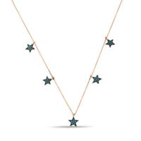 Argentum Concept Firuze Taşlı Yıldızlı Gümüş Şans Kolyesi