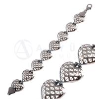 Akyüz Gümüş Kalp İşlemeli Telkari Gümüş Bileklik