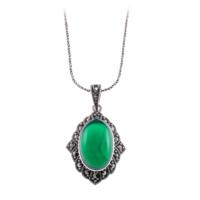Akyüz Gümüş Yeşil Akik Taşlı Markazit Gümüş Kolye