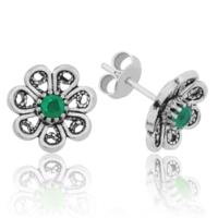 Tekbir Silver Gümüş Yeşil Çiçek Küpe