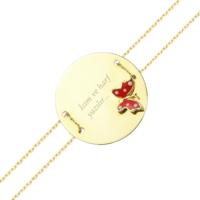 AltınSepeti Kelebekli İsim Yazılır Altın Plaka Bileklik AS184BL