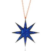 Bella Gloria Saks Mavisi Taşlı Kutup Yıldızı Roz Gümüş Kolye (Gk00555)