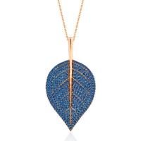 Bella Gloria Saks Mavisi Taşlı Yaprak Roz Gümüş Kolye (Gk00552)