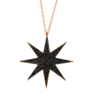 Bella Gloria Siyah Taşlı Kutup Yıldızı Roz Gümüş Kolye (Gk00554)