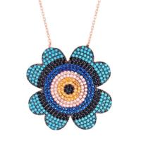 Bella Gloria Yonca Figürlü Renkli Taşlı Göz Roz Gümüş Kolye (Gk00560)