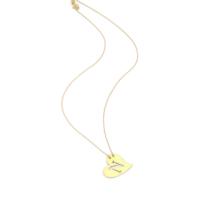 Affix Silver Gümüş Kalp Plaka Harf Altın Renk Kolye