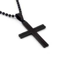 Solfera Siyah Renk Tasarım Haç Erkek Çelik Kolye K634