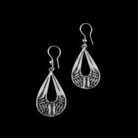 Akyüz Gümüş Damla Motifli Telkari Gümüş Küpe Kpt017