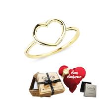 Glorria Altın Kalp Yüzük - Hediye Seti - Dm0040-Hs