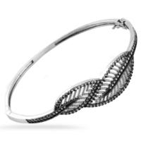 Zevahir Gümüş Pırlanta Modeli Yapraklı 925 Ayar Gümüş Bilezik