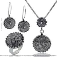 Çağrı Gümüş Gümüş Telkari Örme Bayan Set Takı