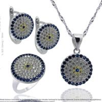 Çağrı Gümüş Nazar Boncuğu Temalı Gümüş Üçlü Set 9