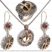 Çağrı Gümüş Elif Vav Yazılı Telkari Gümüş Üçlü Set Takı