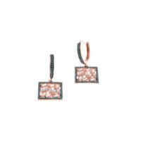 Akyüz Gümüş Nano Turkuaz Taşlı Roz Gümüş Küpe Kpz021