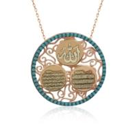 İndigo Takı Turkuaz Taşlı Allah Yazılı Dualı Gümüş Kolye