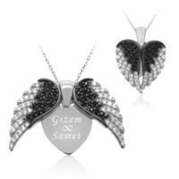 İndigo Takı Aşkın Kanatları İsimli Beyaz Gümüş Kolye