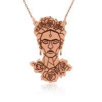 İndigo Takı Rose Frida Kahlo Figürlü Gümüş Kolye