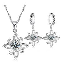 Myfavori Takı Seti Gümüş Kaplama Çiçek Şekli Takı Seti