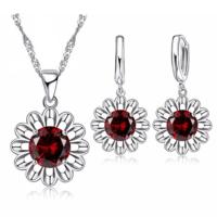 Myfavori Takı Seti Kırmızı Kristal Taşlı Ayçiçeği Gümüş Kaplama Maxi Choker Kolye Küpe Seti