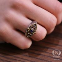 Nusret Takı 925 Ayar Gümüş Safir Taşlı Antik Bizans Tasarım Yüzük 7