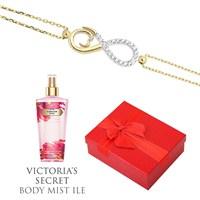 Melis Gold Altın Taşlı Sonsuz Bileklik Hp0139 + Victoria's Secret Body Mist ile