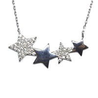 Zirkon Taşlı Gümüş Kolye 4'Lü Yıldız T018