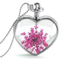 Güven Altın Yaşayan Kolye Kristal Cam İçinde Kurutulmuş Çiçekler Yk63