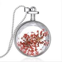 Güven Altın Yaşayan Kolye Kristal Cam İçinde Kurutulmuş Çiçekler Yk8