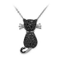 Ariş Siyah Pırlanta Kedi Kolye Altın Kitty